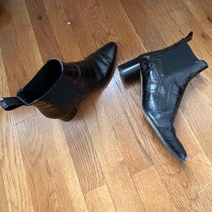 Zara black croc Chelsea boots